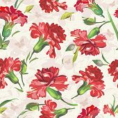 Picture of red carnations on floral background with butterflies. Vintage seamless pattern.