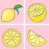 icon set - lemon fruit