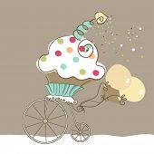 stock photo of birthday-cake  - birthday cupcake - JPG