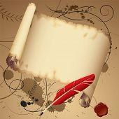 Постер, плакат: Изолированные растровые версии векторных старый пергамент с красным пером содержат отсечения путь