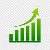 Growing Graph Sign. Vector. Green Gradient Icon On Transparent Background. poster