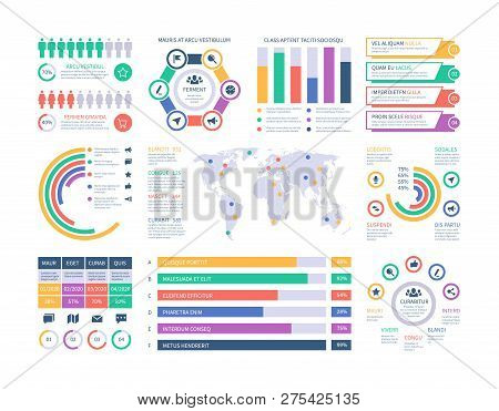 poster of Infographic Template. Financial Investment Graphs, Column Chart Organization Flowchart. Presentation