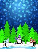 Постер, плакат: Пингвины льду на коньках каток зимой снег сцены синий иллюстрации