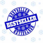 Bestseller Round Stamp Seal On Winter Background With Snow. Blue Vector Rubber Imprint With Bestsell poster
