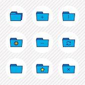 Illustration Of 9 Document Icons Colored Line. Editable Set Of Delete Folder, Shared Folder, Remove  poster