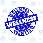 Wellness Round Stamp Seal On Winter Background With Snowflakes. Blue Vector Rubber Imprint With Well poster