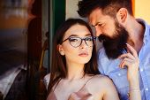 There Are No Rules In Fashion. Couple Of Lovers With Fashion Style. Sexy Woman And Bearded Man In Lo poster
