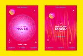 Flyer For Dance Event. Techno Sound Performance Wave Poster. Vector Music Equalizer Concept. Amplitu poster
