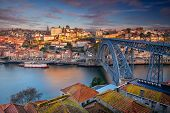 Porto, Portugal. Aerial Cityscape Image Of Porto, Portugal With The Douro River And The Luis I Bridg poster