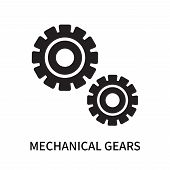 Mechanical Gears Icon Isolated On White Background. Mechanical Gears Icon Simple Sign. Mechanical Ge poster
