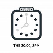 The 20:00, 8pm Icon Isolated On White Background. The 20:00, 8pm Icon Simple Sign. The 20:00, 8pm Ic poster