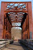 picture of trestle bridge  - Bridge crosses the river with a trestle to 