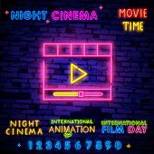 World Cinema Day December 28 Illustration Neon Sing, Label And Logo. Cinema Banner Design Template,  poster
