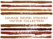 Long Ink Brush Strokes Isolated Design Elements. Set Of Paint Lines. Urban Stripes, Textured Paintbr poster