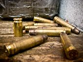 picture of shooting-range  - Bullet shells from AK - JPG