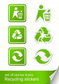 set recycling sign icon sticker vector illustration isolated on white background