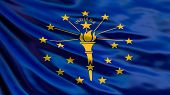 Indiana State Flag. Waving Flag Of Indiana State, United States Of America. 3d Illustration poster