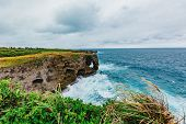 Scenery of Manzamo Cape in Okinawa, Japan, The famous place for traveling in Okinawa, Japan, copy sp poster