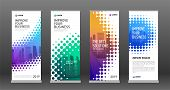 Real Estate Roll Up Banners Design Templates Set. Vertical Banner For Event With Halftone Effect Vec poster