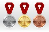 Sports Medals. Golden Silver Bronze Medal With Red Ribbon. Champion Winner Awards Of Honor Vector Is poster