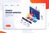Search Engine Rank Isometric Landing Page. Seo Marketing And Analytics, Online Ranking Result. 4ir 3 poster