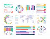 Infographic Template. Financial Investment Graphs, Column Chart Organization Flowchart. Presentation poster