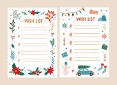 Bundle Of Wish List Templates Decorated By Traditional Seasonal Christmas Decorations - Snowman, Gar poster