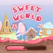Fantasy Game Intro. Start Screen For Video Game With Delicious Food Chocolate Biscuits Caramel Lolli poster