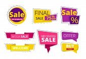 Flat Promo Banners. Big Sale Advertizing Offers On Colored Ribbons Vector Template. Discount And Sal poster