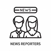 News Reporters Icon Isolated On White Background. News Reporters Icon Simple Sign. News Reporters Ic poster