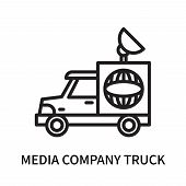 Media Company Truck With Satellite Icon Isolated On White Background. Media Company Truck With Satel poster
