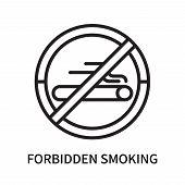Forbidden Smoking Icon Isolated On White Background. Forbidden Smoking Icon Simple Sign. Forbidden S poster