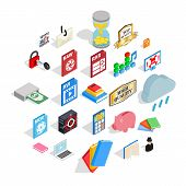 Type Icons Set. Isometric Set Of 25 Type Vector Icons For Web Isolated On White Background poster