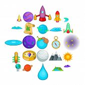 Universe Icons Set. Cartoon Set Of 25 Universe Vector Icons For Web Isolated On White Background poster