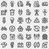 Energy Saving Icon Set. Outline Set Of Energy Saving Vector Icons For Web Design poster