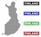 Vector Dot Abstracted Finland Map And Isolated Clean Black, Grunge Red, Blue, Green Stamp Seals. Fin poster