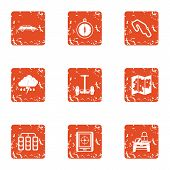 Rugged Terrain Icons Set. Grunge Set Of 9 Rugged Terrain Icons For Web Isolated On White Background poster