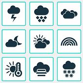 Climate Icons Set With Hailstone, Sunset, Crescent And Other Colors Elements. Isolated  Illustration poster