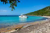 Private Boat At Seashore Carribean Vacation Getaway poster