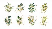 Gold Green Tropical Leaves Wedding Bouquet With Golden Splatters Isolated On White Background. Flora poster