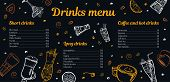 Cocktails, Coffee And Hot Drinks Menu Design Template With List Of Drinks And Images. Vector Outline poster