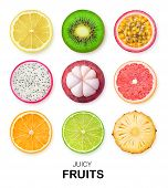 Isolated Fruits Slices. Pieces Of Lemon, Kiwi, Passion Fruit, Dragon Fruit, Mangosteen, Grapefruit,  poster