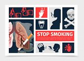 Flat No Smoking Infographic Template With Unhealthy Lungs Heart Tooth Smoking Pregnant Woman Men Bur poster