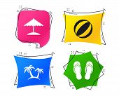 Beach Holidays Icons. Ball, Umbrella And Flip-flops Sandals Signs. Palm Trees Symbol. Geometric Colo poster