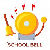 School Bell, Ring Vector. Ringing Classic Electric Bell And Hand Gold Metal Ring Isolated Cartoon Il poster