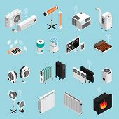 Smart Home Climate Cooling Heating Elements Isometric Icons Set With Fireplace Air Condition Radiato poster