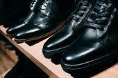 Mens Black Leather Shoe. poster