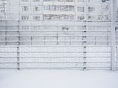 Fence Covered With Snow. Snow-covered Lattice. The Door Covered With Snow. poster