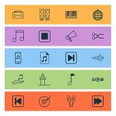 Music Icons Set With Synthesizer, Stop Music, Drum Sticks And Other Frequency Elements. Isolated  Il poster