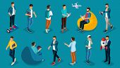 Trendy Isometric Vector People, 3d Person Teenagers, Modern Young People And Gadgets, Freelancers, S poster